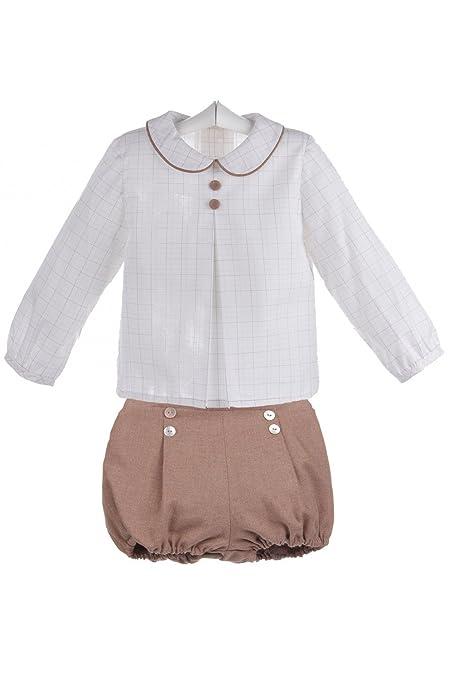 Ancar - Conjunto de camisa y ranita para bebé - 2 años, Blanco con cuadros