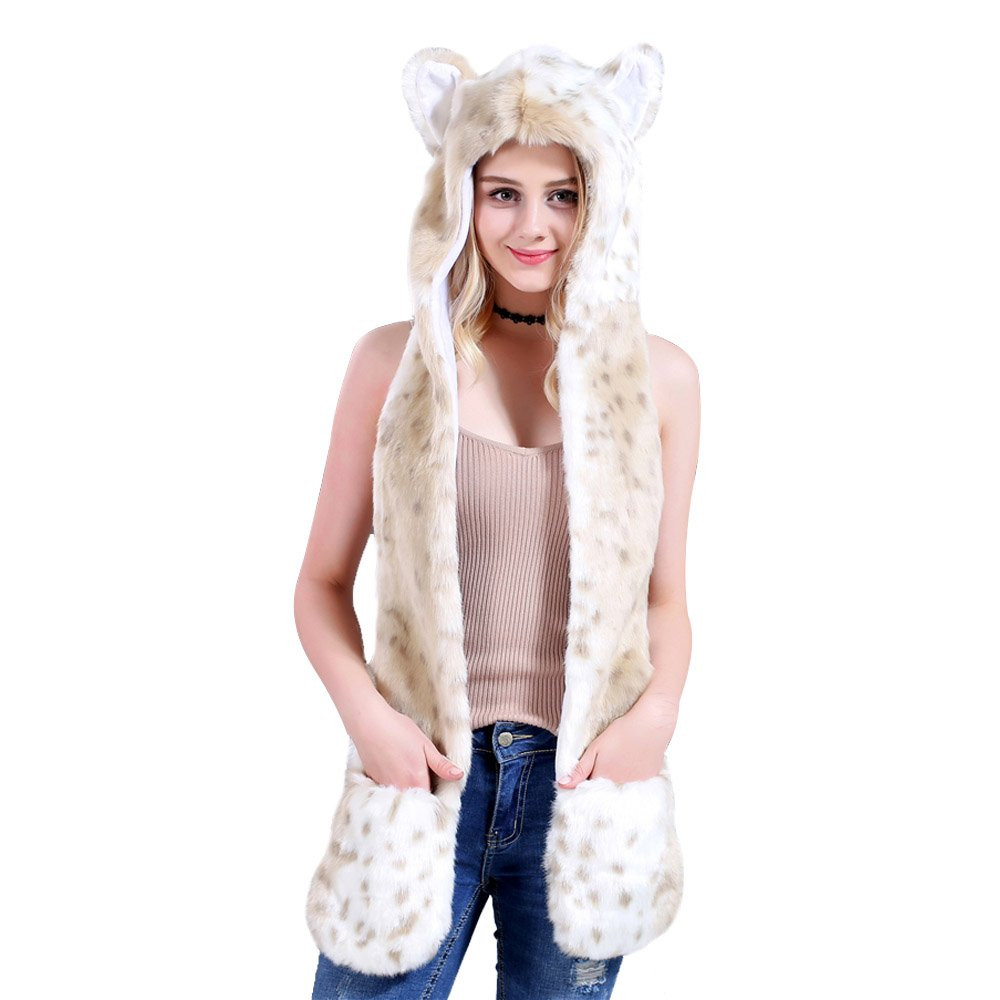 Artificial Leopard Bear Fur 3 in 1 Hat Scarf Gloves Imitation Animal one-Piece Hat Scarf Gloves Best Xmas Gift