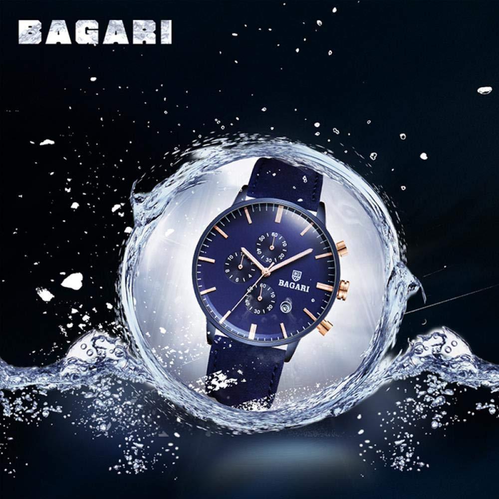 Haonb herrklockor 3-ögts 6-pin multifunktionsklocka vattentät kalenderfunktion sportklocka Blue Shell Blue Surface Blue Belt