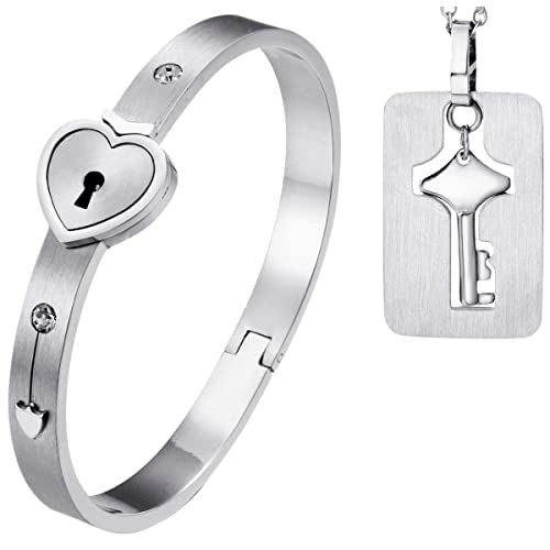 1e0f04985f15 Amazon.com  LOVE Beauties His and Hers Matching Set Couple Titanium Only  You Have My Key Bangle Bracelet Magnetic Simple Korean Style Anti-Fatigue  in a Gift ...