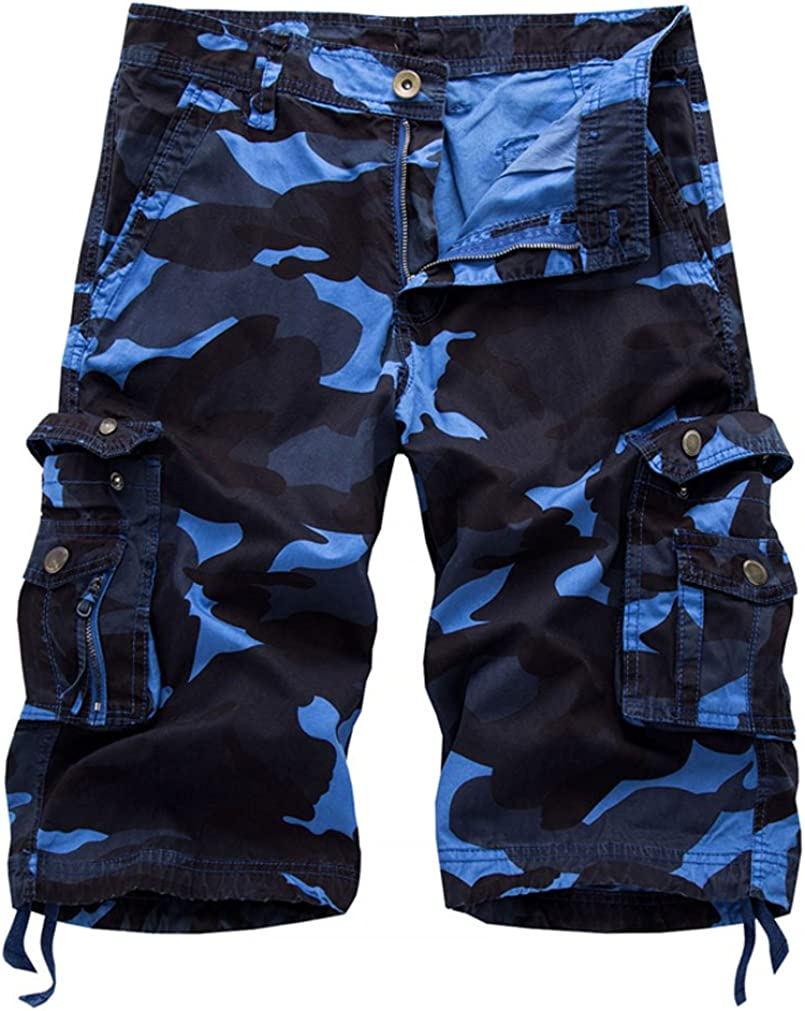 daqinghjxg Mens Casual Camouflage Cargo Male Army Work Shorts Cotton Multi-Pocket Shorts Plus Size