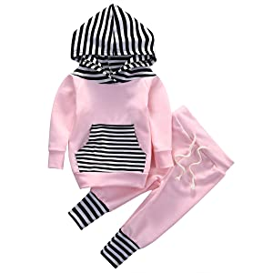 Newborn Baby Boy Girls Hoodie Long Sleeve Striped Top Sweatshirt Pants Outfit Set (6-9months, Green)