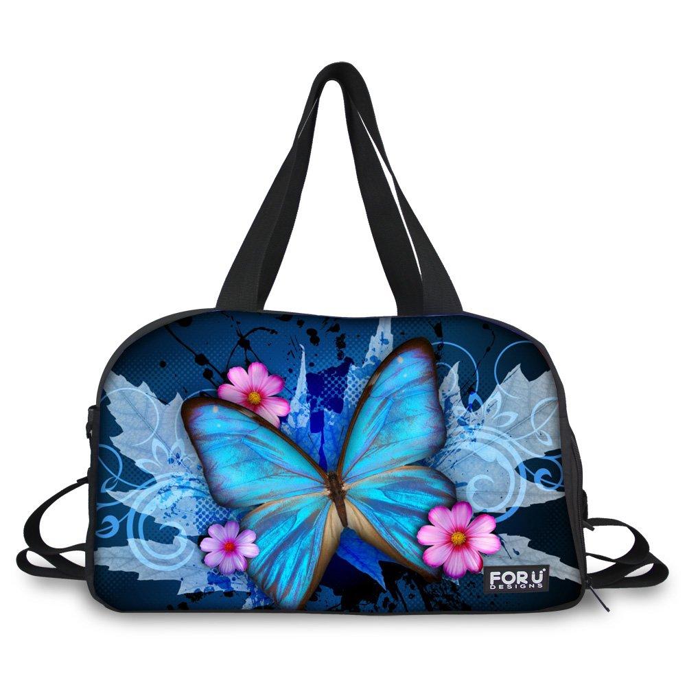 HUGSIDEA Blue Art Butterfly Print Gym Fitness Shoulder Bags Large Sports Travel Duffles