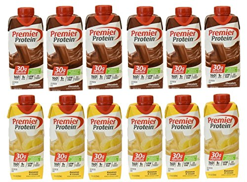 Premier Protein High Protein Shake, Chocolate and Bananas & Cream (11 fl. oz., 12 pack)