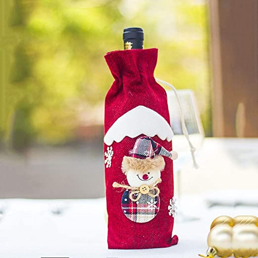 Red Wine Bottle Cover Bags Snowman Santa Claus Christmas Decoration Xmas Decor