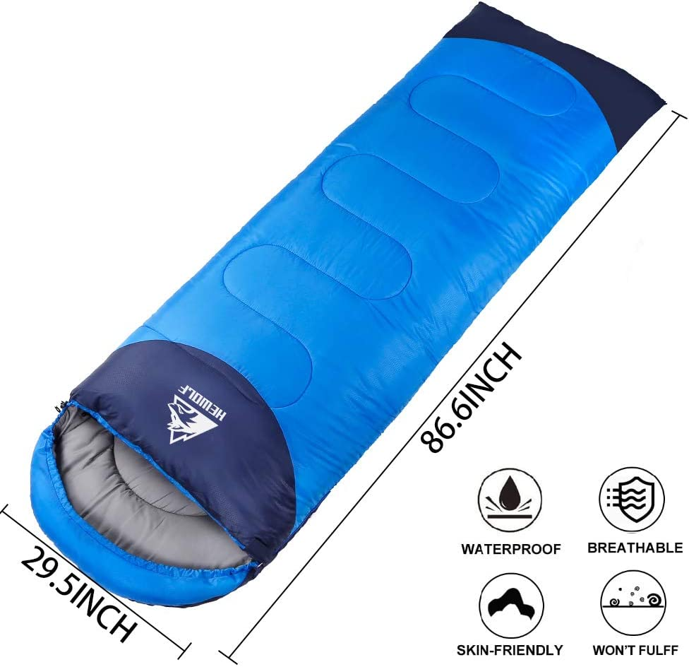 220/×75cm Hewolf Camping Sleeping Bag-Compact Waterproof 4 Season Lightweight Adults Sleeping Bag with Compression Sack for Camping Hiking Backpacking