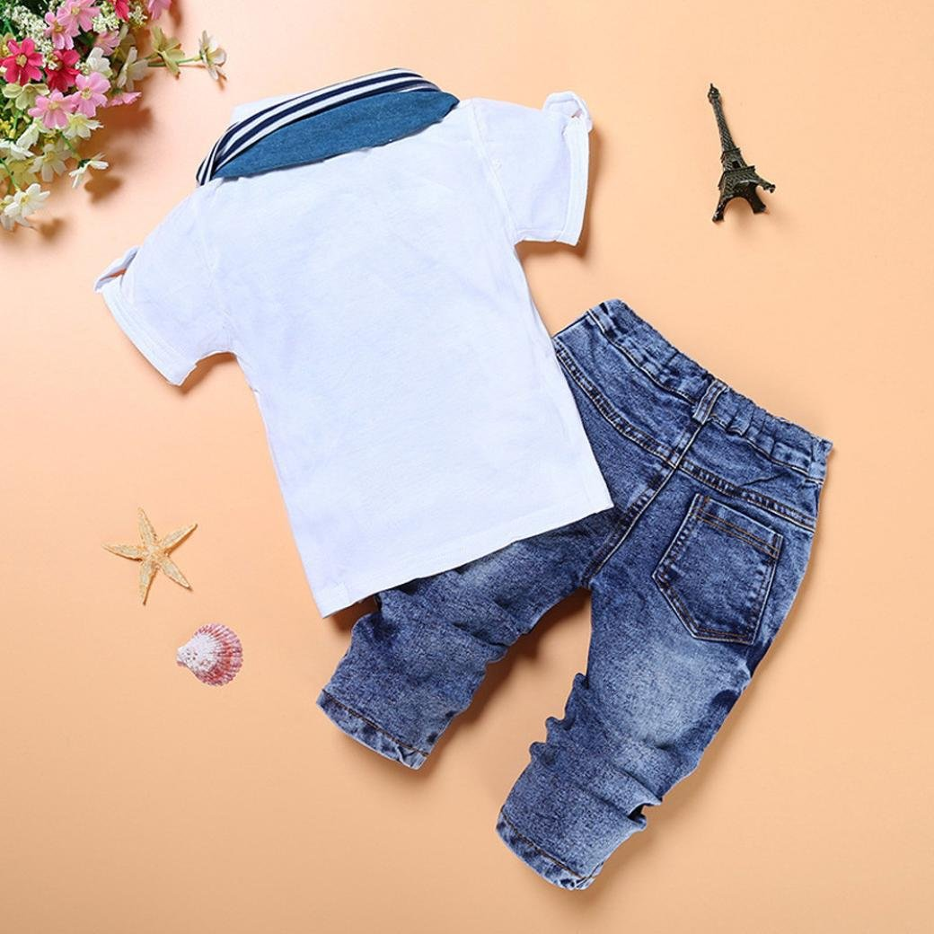 345e29351fdf1 Amazon.com: Fanteecy Summer Kids Toddler Baby Boy Clothes Short Sleeve Shirt +Denim Pants+Scarf Set Handsome Outfits: Clothing