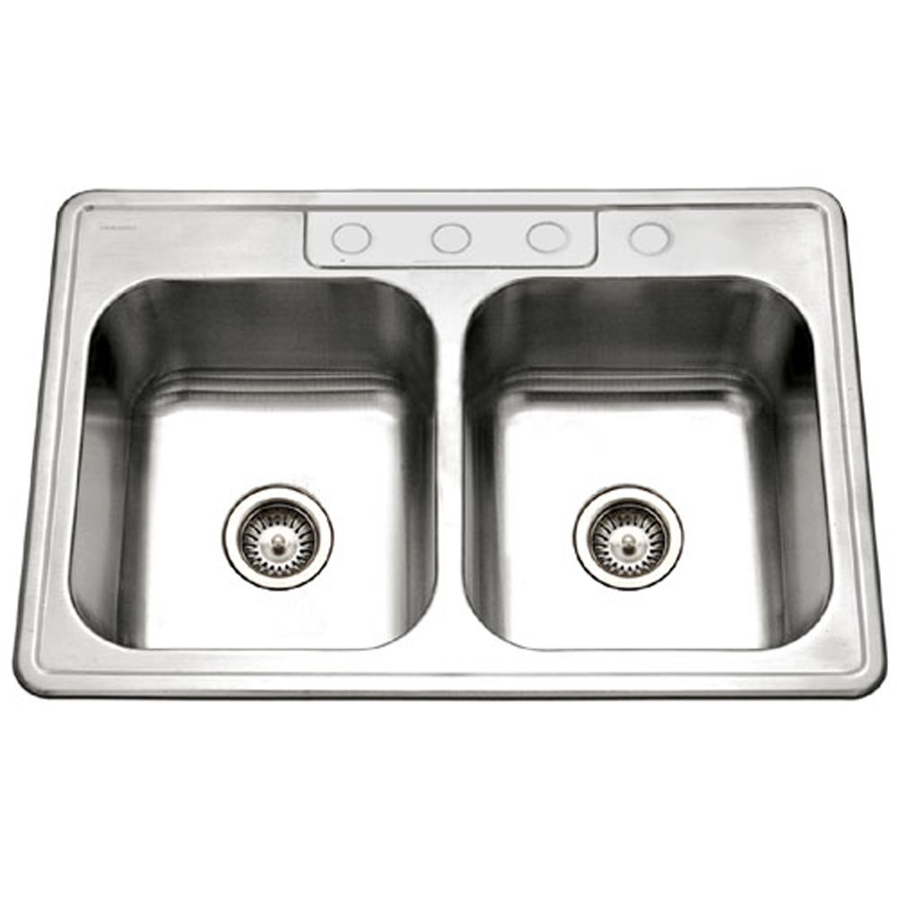 Houzer 3322-9BS4-1 Glowtone Double Bowl Drop-In Stainless Steel Sink, 33-by-22-by-9-Inch