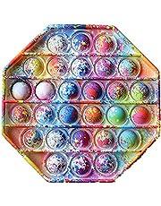 KASTWAVE Pop Fidget Toys Push Pop Bubble Fidget Sensory Toys Rainbow Stress Reliever Toys Fidget Pack Squeeze Sensory Toy Fidget Toy Set Stress Toy Reliever Office School Game Crafts for Kids Adults