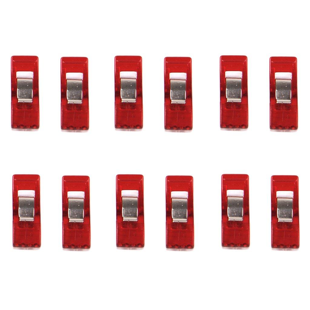 Lot de 12pcs Clips Pinces en Plastique pour Reliure Couture Artisanat Clair et Rouge Générique