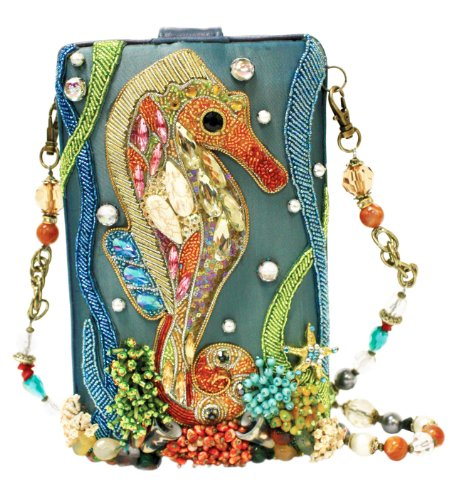 Crystal Jeweled Handbag - Mary Frances Unfathomable Beaded Jeweled Crystal Seahorse Fish Ocean Handbag Shoulder Bag