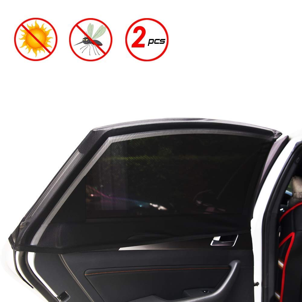 Block The Sunlight New Elastic Material Removable Universal-2Pack Universal Fit for Most Vehicles. Slip On Style 2 Pcs for Rear Windows X spirit Car Window Shades for Baby /& Pets
