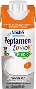 Peptamen Junior with Prebio Peptide-Based Complete Nutrition, Chocolate, 8.5 Ounce Box (24 Pack)
