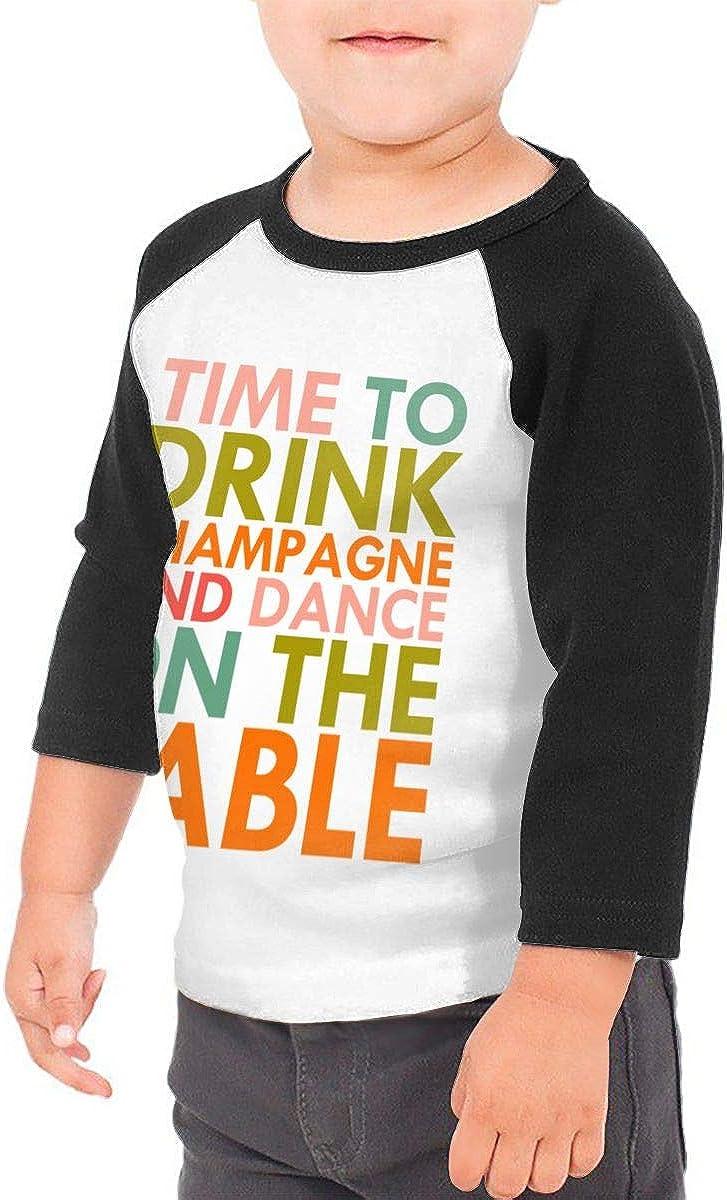 Kocvbng I Time to Drink Champagne Raglan 3//4 Sleeves T Shirts for Girls Boy