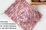 the love 5pc packed cartoon elephant design canvas drawstring storage sacks bags (L, PINK)