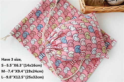 the love 5pc packed cartoon elephant design canvas drawstring storage sacks bags (L, PINK) by the love (Image #3)