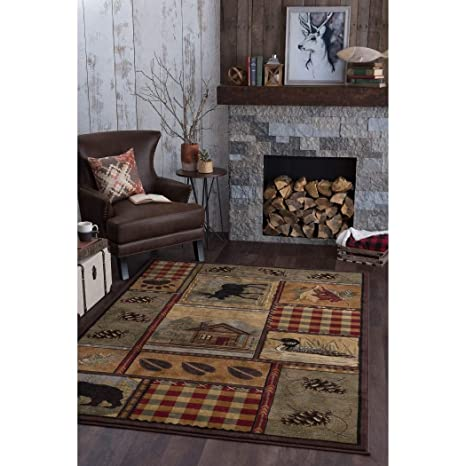 Outstanding 53X73 Black Green Red Southwest Cabin Bear Area Rug Rectangle Shaped Indoor Tan Moose Lodge Carpet For Living Room Rustic Southern American Cottage Home Interior And Landscaping Ologienasavecom