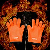 Cooking Gloves-Heat Resistant Oven Mitt for Grilling,BBQ,Pans-Cooking & Baking Non-Slip Potholders - Internal Protective Cotton Layer -1Pair,Silicone Basting Pastry Brush free of cost