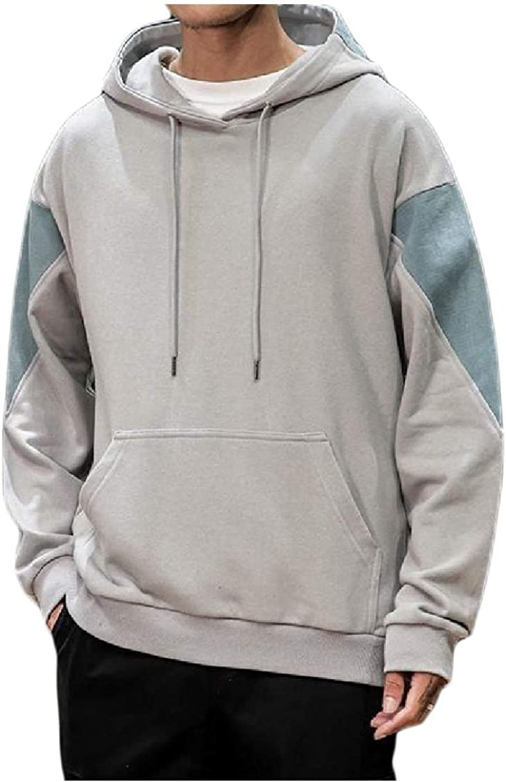 KaWaYi Mens Hooded Autumn Stitching Pullover Casual Hit Color Tracksuit Top