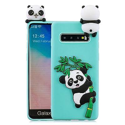 HongYong Funda para Samsung Galaxy S10 Plus, 3D Panda Patrón Cover Ultra Delgado TPU Goma Cover Suave Carcasa Silicona Gel Anti-Rasguño Protectora Espalda Caso para - Verde: Juguetes y juegos
