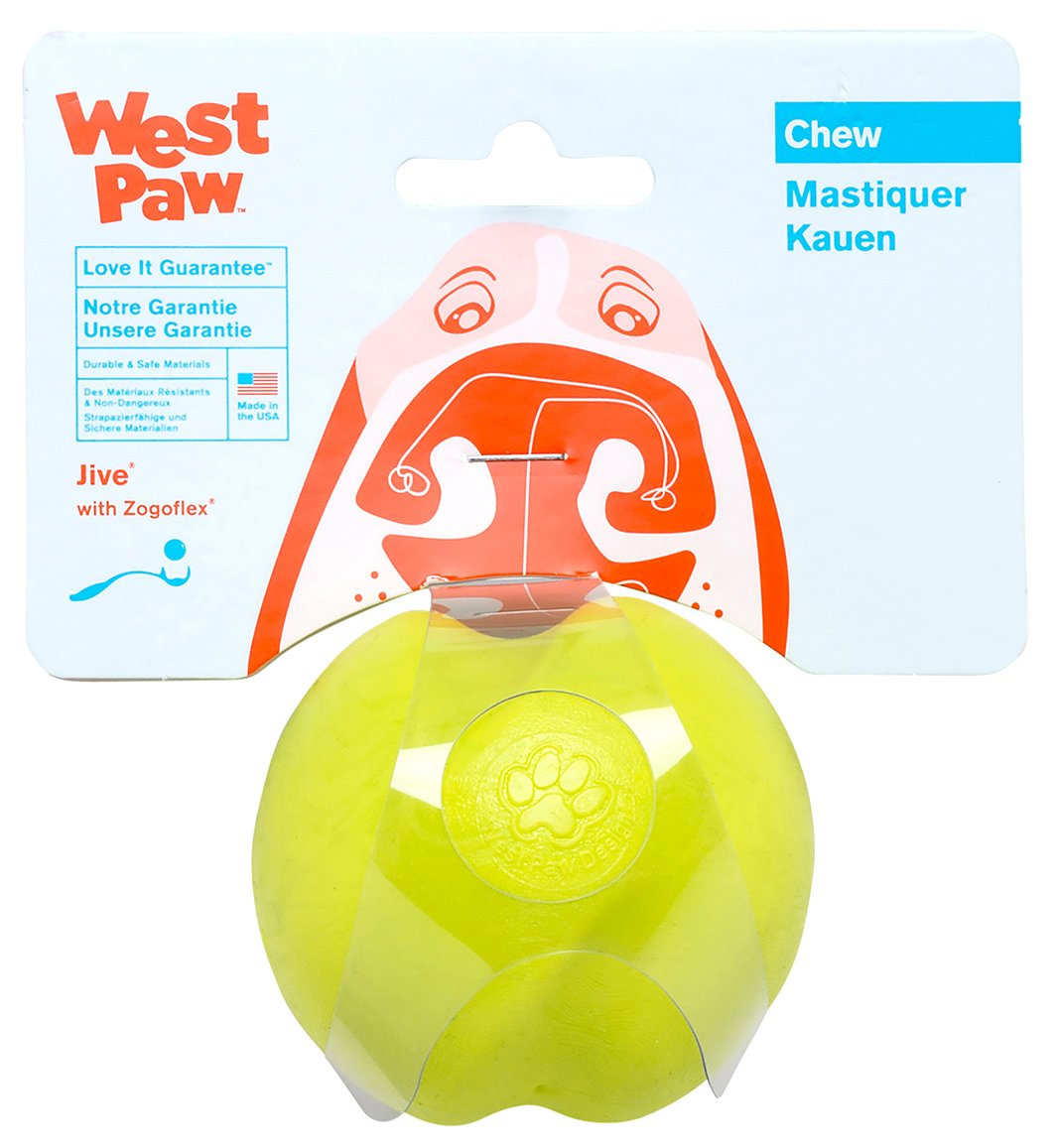 West Paw Zogoflex Jive Durable Nearly Indestructible Dog Ball Chew-Fetch-Play Dog Toy, 100% Guaranteed Tough, It Floats!, Made in USA, Large 3-1/4-Inch, Granny Smith