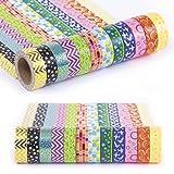 Decorative Washi Tape Set 12 Rolls, Rainbow Washi Tapes Kit for Scrapbooking, DIY Projects, Decorating, Kids Fun