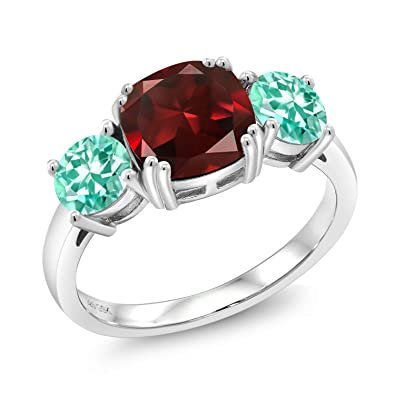 Amazon.com: 3.73 ct cojín rojo granate azul patio plata de ...