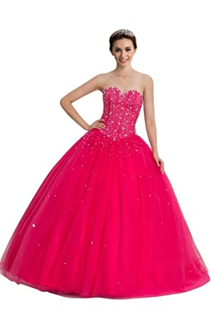 217286a779b Sisjuly Women s Sweetheart Ball Gown Beaded Long Quinceanera Dress 2 Fuchsia