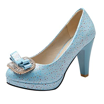 UH Damen High Heels Blockabsatz Geschlossen Trichterabsatz Pumps mit Schleife Rockabilly Schuhe