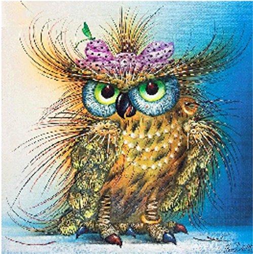 YEESAM ART New 5D Diamond Painting Kit - Little Owl - DIY Crystals Diamond Rhinestone Painting Pasted Paint by Number Kits Cross Stitch - Diy Potter Harry Glasses