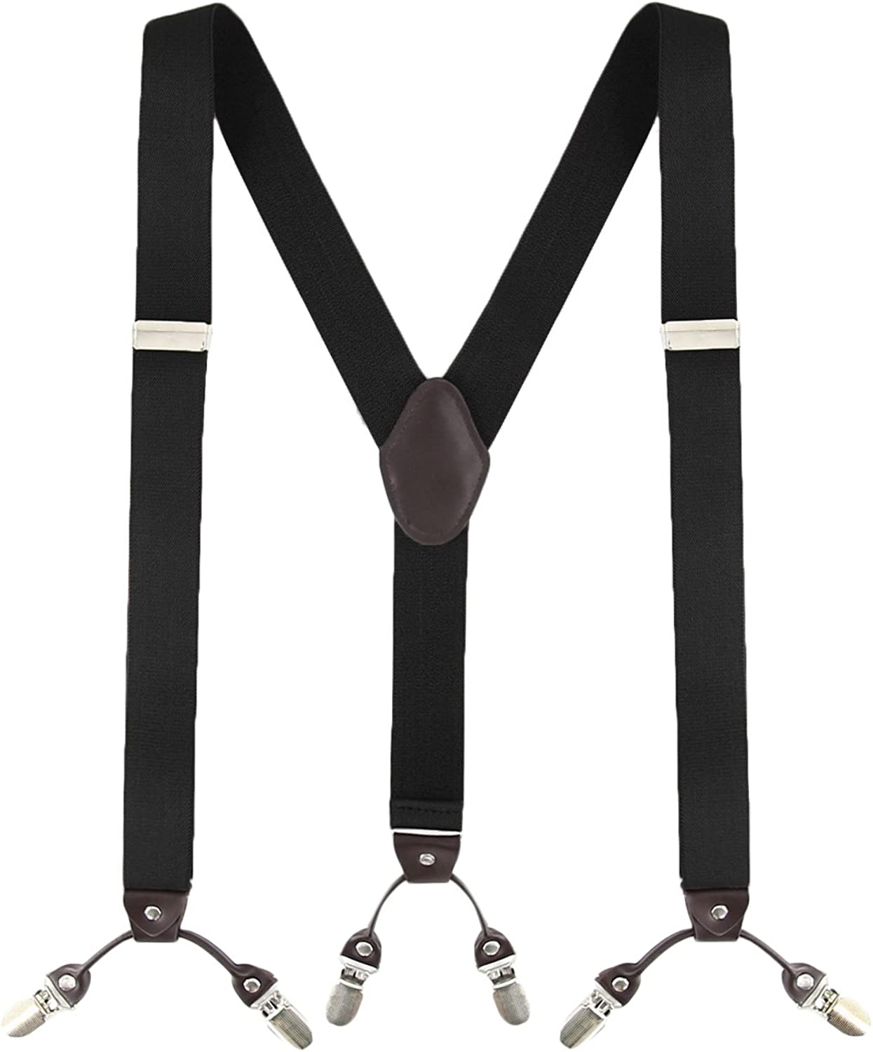 Mens Braces MLM Braces for Men Heavy Duty 6 Clips Wide 1.4 Y-Back Elastic Durable Suspenders with Thicken Wide Metal Clips 1 Year Warranty