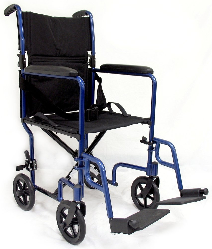 Transport chair amazon - Amazon Com Karman Healthcare Lt 2019 Bl Folding Aluminum Transport Chair With Removable Footrests Blue 19 Inches Seat Width Health Personal Care