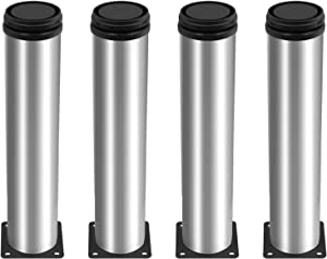 Kyuionty Set of 4 Stainless Steel Furniture Legs 10 Inch, Adjustable Round Cabinet Legs 2