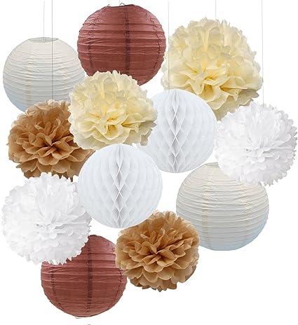 neutrals 5 tissue paper pom poms wedding decoration.htm amazon com 12pcs cream tan white party paper kit tissue pom poms  party paper kit tissue pom poms