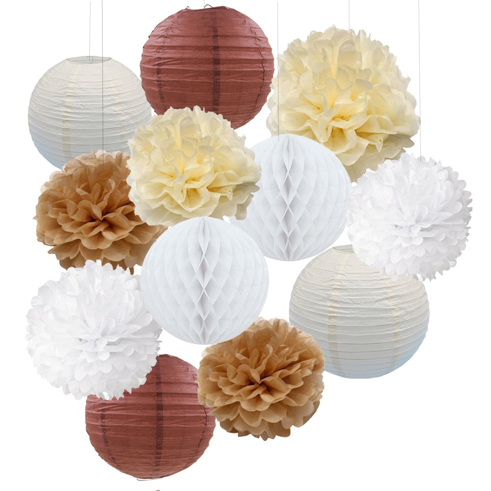 12PCS Cream Tan White Party Paper Kit Tissue Pom Poms Paper Lantern Honeycomball Rustic Wedding Vintage Baby Shower Nursery Decoration