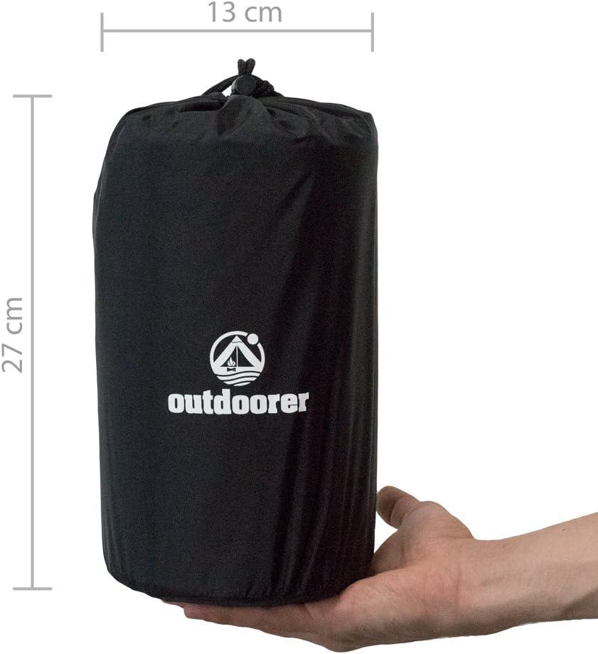 3,1 cm colchoneta de Trekking Ultraligera colchoneta Aislante autoinflable outdoorer Trek Bed 1 tama/ño Compacto despu/és de Doblar