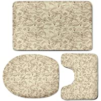 3 Piece Bath Mat Rug Set,Beige,Bathroom Non-Slip Floor Mat,Illustration-of-Retro-Unusual-Floral-Patterns-with-Complex-Lined-Leaves-and-Flowers-Boho-Chic-Decorative,Pedestal Rug + Lid Toilet Cover + Ba