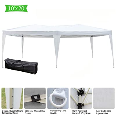 Teeker 10 x 20FT Pop Up Patio Canopy Tent Heavy Duty Gazebo Pavilion Outdoor Party Commercial Instant Tents Impact Canopies Without Sidewalls (White): Home & Kitchen