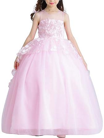 Girls pink princess dresses flower girl dress kids wedding dress girls pink princess dresses flower girl dress kids wedding dress birthday party dress with small train s1708 amazon clothing junglespirit Images