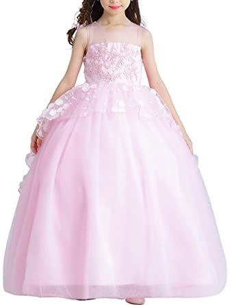 f61021773f1 Girls Pink Princess Dresses Flower Girl Dress Kids Wedding Dress Birthday  Party Dress with Small Train s1708  Amazon.co.uk  Clothing