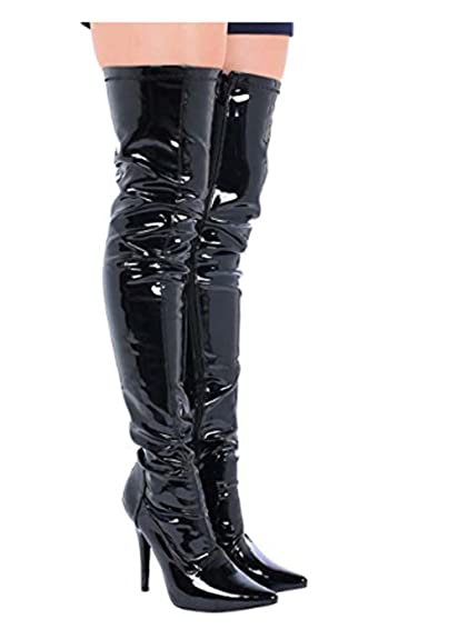 2f36991f2803 (BS12051-W) - New Womens Ladies Sexy Thigh HIGH Kinky Fetish Over The Knee  Stiletto Heel Full Side Zip Boots Big Sizes UK 9 - UK 12  Amazon.co.uk   Shoes   ...