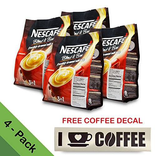 4-PACK Nescafé 3-in-1 ORIGINAL Blend and Brew (with FREE COFFEE DECAL STICKER) Premix Instant Coffee ★ Taste Creamier & More Aromatic ★ Don't Need Creamer & Sugar ★ 20g/Stick - 120 Sticks TOTAL
