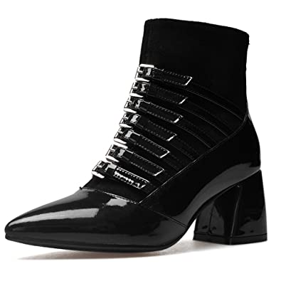 Patent Leather Women's Pointed Toe Chunky Heel Buckles Designed Handmade Fashion Ankle High Boots