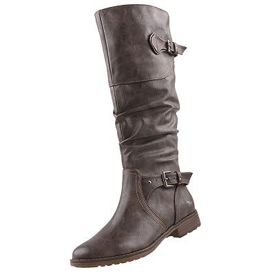 MARCO TOZZI 25571 Damen Leder Schuhe Langschaft Stiefel, Dunkelbraun