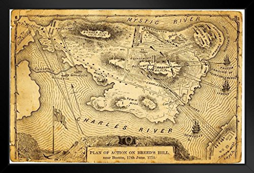 (Plan of Action Battle on Breeds Hill Boston Antique Style Map Framed Poster 20x14 inch)