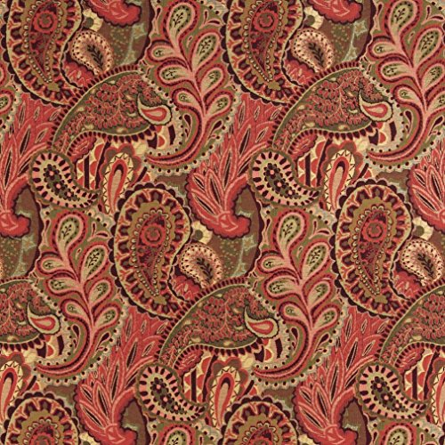 A0024B Burgundy Green and Red Abstract Paisley Contemporary Upholstery Fabric by The Yard ()