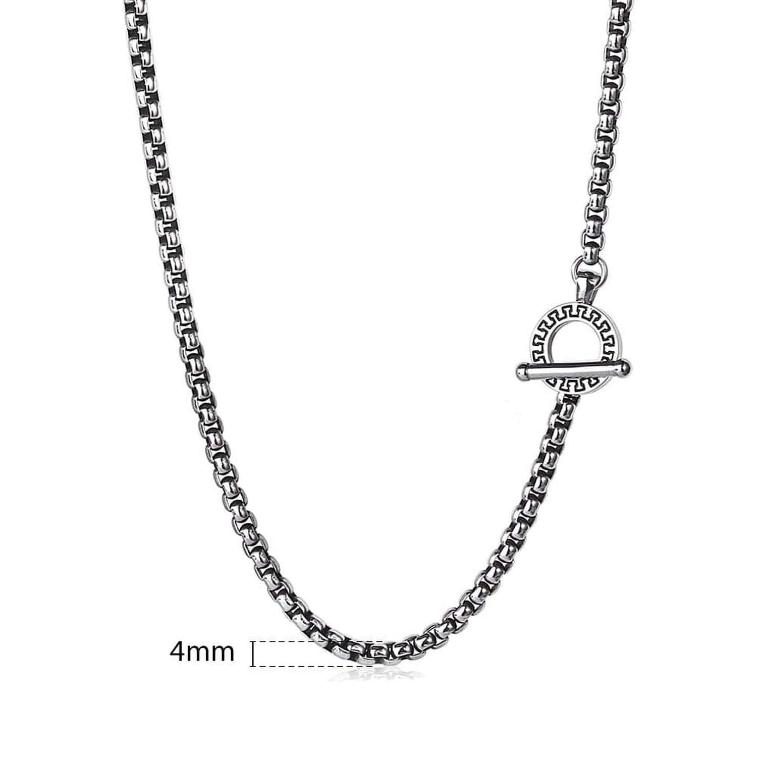 Mens Womens Necklace 4mm Box Link Stainless Steel Chain Silver Necklace 18-36inch DIY Fashion Jewelry,T1,32inch