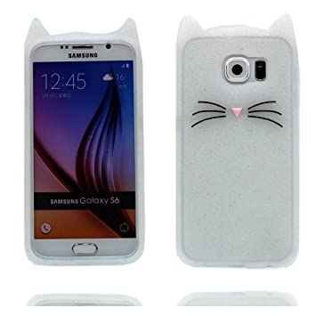 Samsung Galaxy S6 Carcasa, Samsung Galaxy S6 funda, 3D de dibujos animados lindo gato suave Silicona [prueba de choque]Case Cover for Samsung Galaxy ...