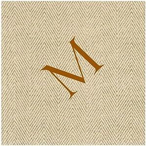 Entertaining with Caspari Jute Herringbone Paper Linen Cocktail Napkins, Monogram Initial M, Pack of 30