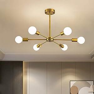6 Lights Modern Sputnik Chandelier Semi Flush Mount Ceiling Pendant Lighting Mid Century Gold Bronze Industrial Brushed Brass Light Fixture for Kitchen Living Room Dining Room Restaurant